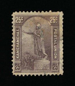 GENUINE HAWAII SCOTT #47 F-VF USED 1883-84 DARK VIOLET STATUE OF KING KAMEHAMEHA