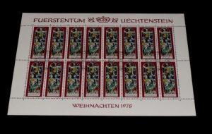 1978, LIECHTENSTEIN, CHRISTMAS STAINED GLASS, 0.20, SHEET/16 , CTO, NICE! LQQK!