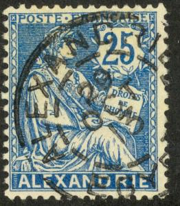 FRANCE OFFICES IN EGYPT ALEXANDRIA 1902-13 25c Blue Sc 24 VFU 1913 PMK
