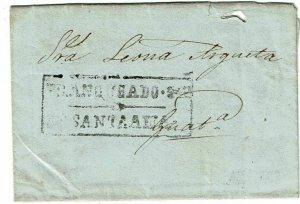 Salvador 1853 boxed Santa Ana cancel on cover to Guatemala