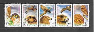 BIRDS - ROMANIA #4735-9-BIRDS OF PREY  MNH