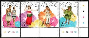 Niue 752 strip of 4, MNH. Dancers, Garments, 2000