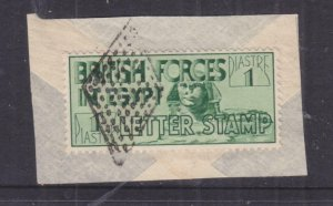 BRITISH FORCES IN EGYPT, 1934 Letter Seal, 1p. Green used on small piece.