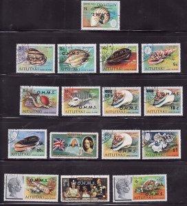 Aitutaki-Sc#O1-16- id7-unusd cancelled Official OHMS set -Marine Life-Maps-1978-