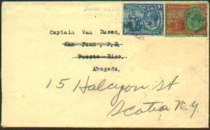 Trinidad 3d and 6d Britannia and KGV 1934 Port of Spain, Trinidad to San Juan...