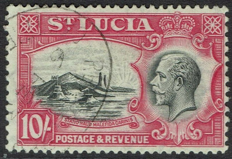 ST LUCIA 1936 KGV PICTORIAL 10/- USED