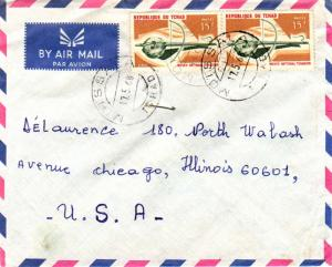 Chad 15F Musical Instruments (2) 1968 Mo'i'ssala, Tchad Airmail to Chicago, I...