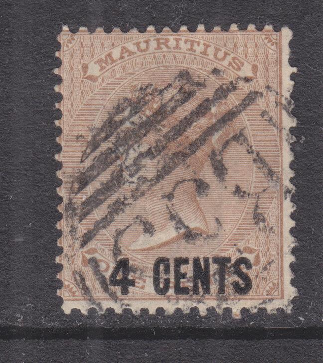 MAURITIUS, 1878 4c. on 1d. Bistre, used.
