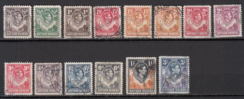 Northern Rhodesia - 1938/1952 KGVI small stamp lot  (7918)