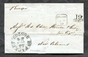 p520 - GB 1859 Folded Cover / Folded Letter SFL to USA. Boston Packet. Europa