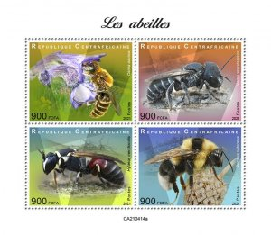 C A R - 2021 -Bees - Perf 4v Sheet - Mint Never Hinged