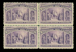 US 1893 COLUMBUS - Columbus at Barcelona 6c purple Sc # 235 mint MNH/LH blk of 4