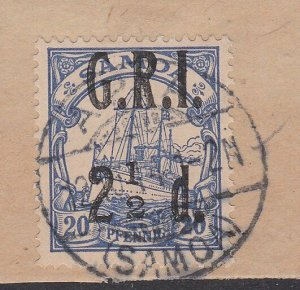 SAMOA 1914 GRI opt on German Samoa : 2½d used on pieceMISSING FRACTION BAR..C484