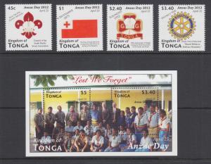 Tonga Sc 1180-1184 MNH. 2012 ANZAC Day, cplt set including souvenir sheet, VF+