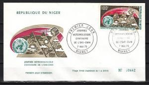 Niger, Scott cat. C214. Weather Satellite issue on a First day cover.