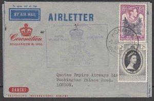 SOLOMON IS 1953 Qantas Coronation flight formular aerogramme used to UK.....K857