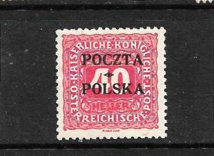 POLAND  1919  40h  ROSE  POSTAGE DUE  MLH  SIGNED       Sc J7