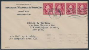 USS LOS ANGELES ZEPPELIN FLIGHT COVER PUERTO RICO TO NEW YORK MAY 1925 BU3641