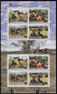 Guinea-Bissau WWF Defassa Waterbuck Sheetlet of 2 sets MI#3919-3922
