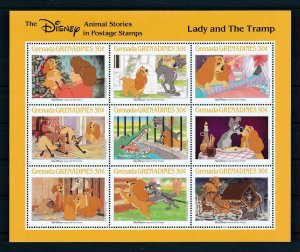 [107493] Grenada Grenadines 1988 Disney Lady and the Tramp dogs pets Sheet MNH