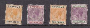 CYPRUS, 1921-1923 KGV Script CA, 10pa., 30pa., 1pi. & 1 1/2pi., lhm.