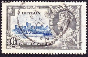 CEYLON 1935 KGV 6 cents Ultramarine & Grey Silver Jubilee SG79 Used