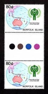 NORFOLK ISLAND  SC# 250  STOPLIGHT GUTTER PAIR  FVF/MNH