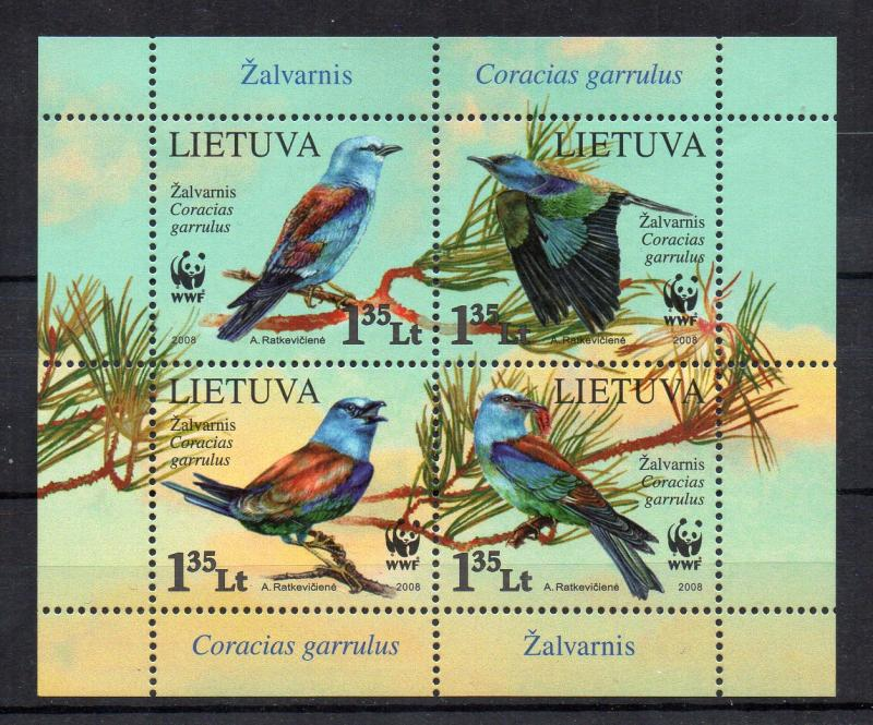 LITHUANIA - M/S - 2008 - BIRDS - WWF -