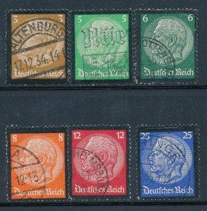 Stamp Germany Mi 548-53 Sc 436-41 1934 Fascism Death Hindenburg Mourning Used