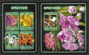 Maldive Islands SW 7573-77 Orchids m/s and s.s. MNH (lib)