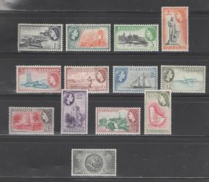 Barbados 1953 Queen Elizabeth II Scott # 235 - 247 MH