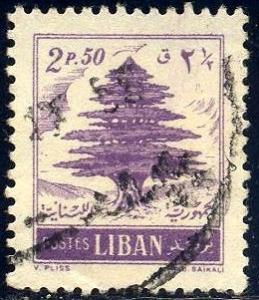 Cedar of Lebanon, Lebanon stamp SC#268 used
