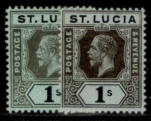 ST. LUCIA GV SG85 + 85a, 1s SHADE VARIETIES, M MINT. Cat £25.