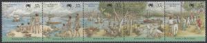 Cocos (Keeling) Island#172 MNH, strip of 5, Australian bicentenary, issued 1988