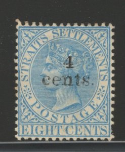 Straits Settlements 1899 Queen Victoria Surcharged 4c on 8c Scott # 91 MH