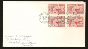 Canada 472 Pan American Games Block of 4 1967 First Day Cover