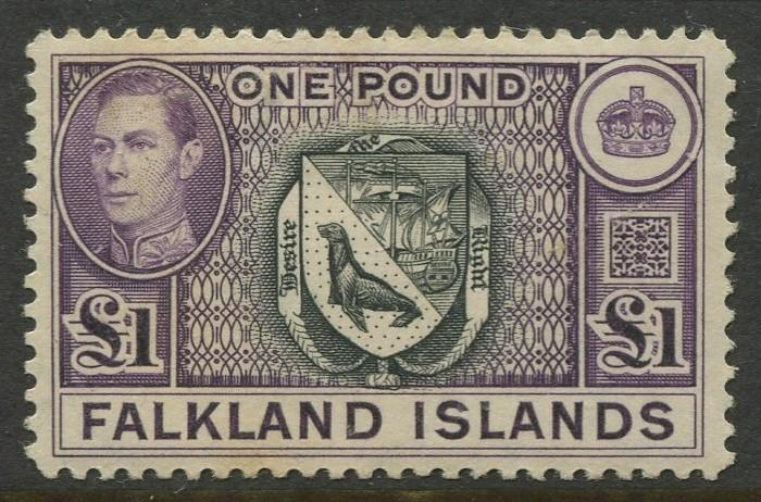 Falkland Is.-Scott 96- KGVI Pictorial Issue - 1938 - Mint - Single £1 Stamp