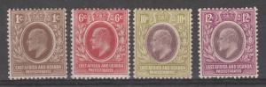 EAST AFRICA AND UGANDA 1907 KEVII RANGE TO 12C INCLUDING REDRAWN 6C