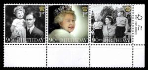 Great Britain Scott 3495-3497a MNH** QE2 90th Birthday strip 2016