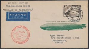 GERMANY #C39 ON ZEPP PAN-AM FLT COVER GERMANY TO PERNAMBUCO, BRAZIL 1930 BT4958