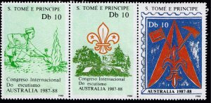 Sao Tome And Principe Stamp 1987-88 BOY SCOUT MNH STRIP OF 3