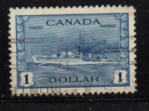 Canada Sc 262 1942 $1 Destroyer stamp used