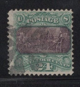 CERTIFIED US Stamp Scott #120 24c Green 1869 Pictorial Used SCV $600