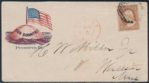 #26 ON UNION CIVIL WAR PATRIOTIC COVER TO WORCESTER, MA BS1457