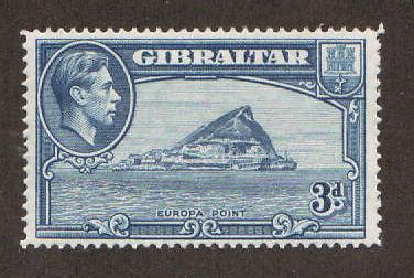 Gibraltar Sc 111a MLH. 1942 3p KGVI & Europa Point