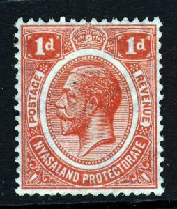 NYASALAND KG V 1921 1d. Carmine Watermark Mult Script CA Group SG 101 MINT