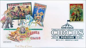 SC 4901, 2014 Circus Posters, Al G. Barnes, FDC, B/W Postmark 14-067