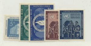 United Nations (New York) Scott #12 To 16 From 1952 -53 - Free U.S. Shipping,...
