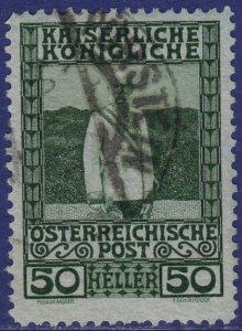 Austria - 1908 - Scott #121 - used - PÜRSTEIN pmk Czech Republic