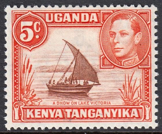 Kenya Uganda Tanganyika KGVI 5c Reddish Brown Orange SG133a Mint